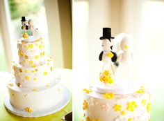wedding cake with yellow flowers Bird topper