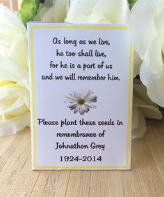 Rememberance cards Memorial Cards Memorial Seed by FavorUniverse Maybe we could make more generic? Funeral Gifts, Funeral Poems, Funeral Urns, Memorial Cards, Funeral Memorial, Memorial Gifts, Memorial Ideas, Cemetery Decorations, Memorial Flowers