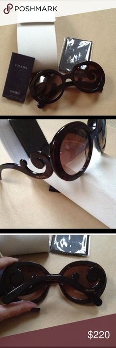 Gorgeous Prada Baroque sunglasses Tortoise frames with brown lenses. Stunning sunnies! In great condition, no flaws! Come with everything pictured Prada Accessories Sunglasses