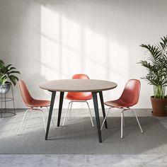 A modern dining table with all-natural linoleum, real birch ply, and powder-coated steel legs. No-tool-required assembly and fast shipping. Dining Table Design, Table Seating, Modern Dining Table, Round Dining Table, Dining Chairs, Modern Chairs, Dining Rooms, Kitchen Interior, Home Interior Design