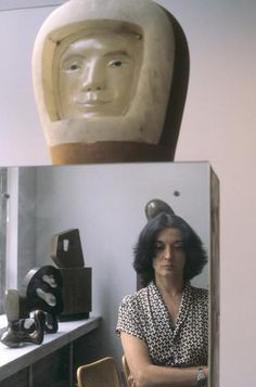 Inge Morath, Portrait of sculptor Marisol Escobar in the Sidney Janis Gallery, 1981