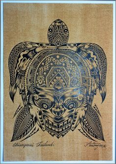 Thai traditional art of Turtle by silk screen by AmornGallery