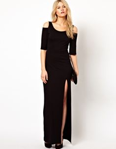 Scratch the L, give me a sexy BD - Love Maxi Dress With Cold Shoulder and Thigh Split