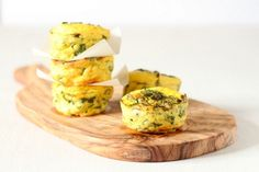 Mini baked yogurt and spinach frittatas