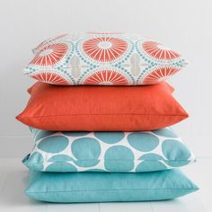 Love this combination of coral & turquoise cushions available from Hus & Hem! It's easy to breathe new life into your home, just add Spira's Juline cushion (top cushion) to your sofa, chair or bed for an instant pop of colour and a burst of print. The pretty tile pattern features a fresh colour palette of coral and light blue. Mix Juline with Spira's many cushion designs to create a home that is full of Nordic colour and joy.