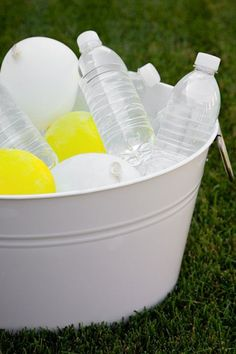 To add color to your water cooler, fill up a quarter of each balloon with tap water and freeze overnight. These ice packs can also be handy if there are any party fouls.