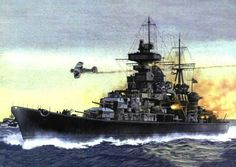 Prinz Eugene, Channel Dash, a British Swordfish flies overhead, it's just been hit, none of the attacking Swordfish survived.