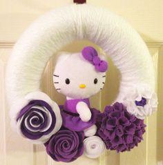 Hello Kitty Yarn and Felt Wreath with Purple by CraftyJeannette, $40.00