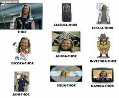 Thor and his many different forms.