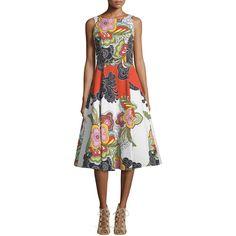 Alice + Olivia Adrianne Floral Pleated Midi Dress (2.230 BRL) ❤ liked on Polyvore featuring dresses, multi colors, white tea length dress, pleated midi dress, sleeveless dress, white dress and a line dress