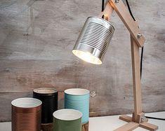 Silver desk lamp Silver lamp shade Original lamp recycled cans recycle can desk lamps wood desk lamp lights wood lamp wood gift - Desk Wood - Ideas of Desk Wood - Lampe Bureau bois vert pot lampe personnalisable par EunaDesigns Wooden Desk Lamp, Table Lamp Wood, Wood Desk, Table Lamps, Diy Table, Wooden Decor, Rustic Table, Table Desk, Green Table Lamp