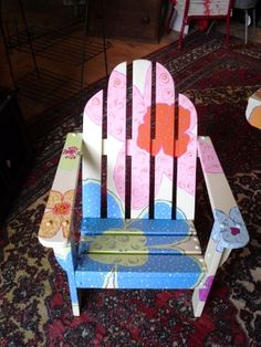 "2009: ""little flower"" painted chair for an auction to benefit The Spaulding Library in Sebago, Maine"