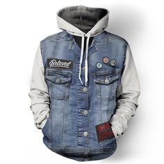Denim Hoodie via http://www.belovedshirts.com/collections/mens/products/denim-vest-white-hoodie