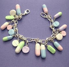 Medications charm bracelet. good gift for nurses, pharmacists, hypochondriacs!