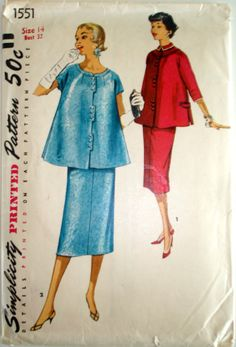 Vintage 1956 Simplicity 1551 Maternity Suit Dress size 14 bust 32 on Etsy, $5.00