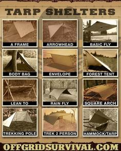 Tarp Shelters - Examples showing how to make multiple types of tarp shelters. With a small amount of paracord and a tarp, you can quickly setup an improvised shelter that will keep you dry and warm with a small reflected fire. Bushcraft Camping, Camping And Hiking, Vw Camping, Glamping, Camping Survival, Outdoor Survival, Survival Prepping, Emergency Preparedness, Camping Hacks
