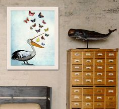 Pelican & Butterflies Pelican Print Nautical print sea picture beach house decor wall decor beach decor nautical decor pelican print picture