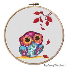 Owl cross stitch pattern Autumn Owl Pattern by MyFunnyStitches1