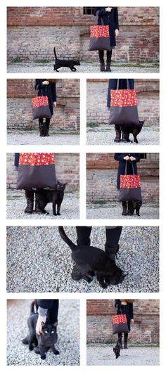 the black cat and the market bag in vintage