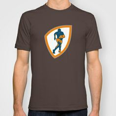 Rugby Player Running Shield Silhouette T-shirt