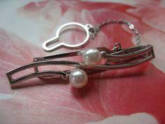 Mikimoto Sterling Cultured Pearl Tie Clip Original Box