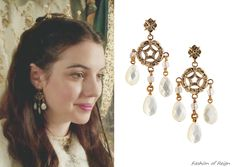 """In the twelfth episode Mary wears these sold out Stephen Dweck Mother-of-Pearl Earrings. She wore these earrings before - in """"Fated""""."""