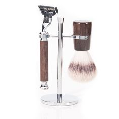 Synthetic Silvertip, Badger Free, Infinity Oak Shaving Set, with Mission Razor & Chrome Stand.