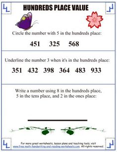 Learn about the hundreds place with these printable place value activities and worksheets. Find more math lessons and printables. Place Value Worksheets, Place Value Activities, Reading Worksheets, Place Value With Decimals, Tens Place, Free Math, Place Values, Math Lessons, Writing