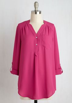 Pam Breeze-ly Tunic in Fuchsia. When you want a work wardrobe thats subtle, stylish, and a little bit romantic, make this breezy, pink blouse your business! #pink #modcloth