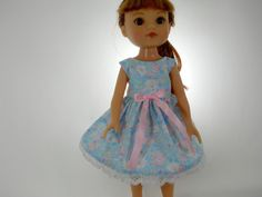 Designed to fit 14 inch dolls like H4H Heart for Heart doll clothes, Light Blue Flower Dress, 02-0937