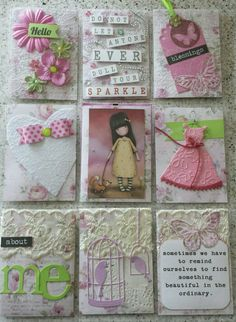 Love the heart with bow and the dress. Cool lettering in the about me pocket! Project Life Scrapbook, Project Life Cards, Pocket Pal, Pocket Cards, Atc Cards, Paper Cards, Pocket Scrapbooking, Scrapbook Paper, Cool Lettering