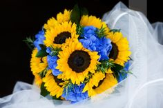 Sunflowers, blue hydrangea and rosemary.. I would put babus breath instead of rosemary though