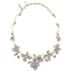 Oscar de la Renta Crystal-Embellished Necklace ($1,170) ❤ liked on Polyvore featuring jewelry, necklaces, accessories, silver, silver tone jewelry, silver tone necklace, silver jewellery, oscar de la renta necklace and silver jewelry