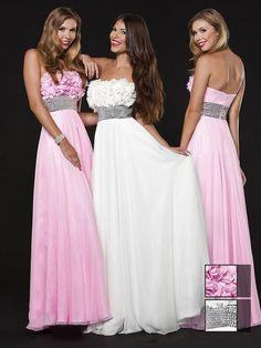 A-line Strapless Chiffon Floor-length Sleeveless Flower(s) Prom Dresses at pickedlooks.com