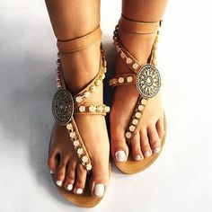 c850612e76e0 PU Buckle Strappy Thong Womens Flat Sandals Women s Shoes Sandals