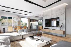 Projekt domu Kastylia A 2-garaże 161,40 m² - koszt budowy - EXTRADOM Beautiful House Plans, Beautiful Homes, Home Design Floor Plans, Facade House, Interior Decorating, House Design, Living Room, Architecture, Modern