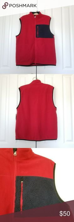 """Izod Polar Fleece Jester Red Zipper Vest Brand new with tags.  Size is medium. Red and blue. 100% polyester.  Performance vest. Measures 23"""" across the chest, 11"""" sleeve opening, 29"""" length Zipper on the front and 2 side pockets.   No trades. If you have any questions please ask.  Please use the offer button to negotiate.  Have an amazing day! Happy Poshing! Izod Jackets & Coats Vests"""
