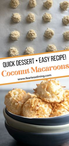These chewy slightly crisp homemade coconut macaroons are the best cookies. Simple ingredients, you can dip them in chocolate or enjoy them plain. Gluten Free Coconut Macaroons, Best Gluten Free Cookie Recipe, Macaroon Recipes, Quick Easy Desserts, Kinds Of Cookies, Free Fun, Chocolate Dipped, Food To Make, Crisp