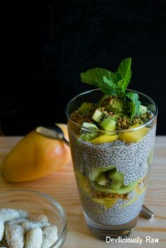 Breakfast inspiration, Eat the Rainbow: Fresh Kiwi and Sweet Mango slices with Tahini Chia Pudding, topped with Bee pollen & Matcha powder + coconut coated almonds. Click for the recipes https://www.facebook.com/deviliciouslyraw - then don't forget to give us a friendly Like and feel free to share our recepies with your FB homies.