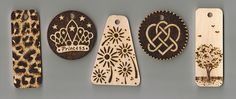 Selection of new Keyring Designs, April 2008 by woodtattoos, via Flickr