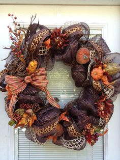 Items similar to Fall Thanksgiving Deco Mesh Harvest Wreath on Etsy Deco Mesh Garland, Mesh Ribbon Wreaths, Holiday Wreaths, Door Wreaths, Burlap Wreaths, Autum Wreaths, Floral Wreaths, Spring Wreaths, Summer Wreath