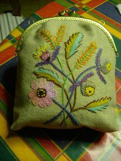 Wool embroidery -pretty purse