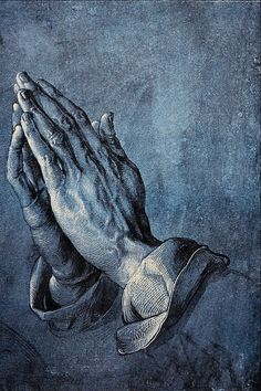 Albrecht Dürer ~ Hands of an Apostle, black and white ink on blue tinted paper