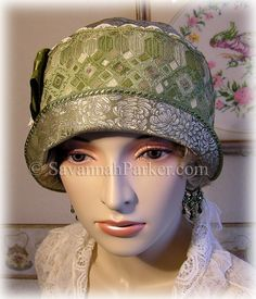 Antique Style 1920s Gatsby Flapper Downton Abbey Green Hand Embroidered Silk Cloche by savannahparker on Etsy
