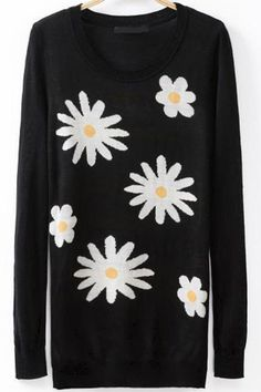 f1513114a86 ROMWE offers ROMWE Sunflower Knitted Black Jumper   more to fit your  fashionable needs.