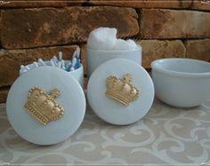 kit Higiene Porcelana Rei/Coroa/Passaros