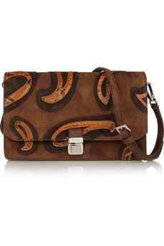 Miu Miu Python-appliquéd suede shoulder bag   NET-A-PORTER