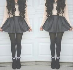 Black denim like skirt, black stocking, white sweather(#SweatherWeather! :) black booties and cute curls!
