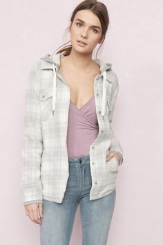 French Terry Lined Plaid Jacket
