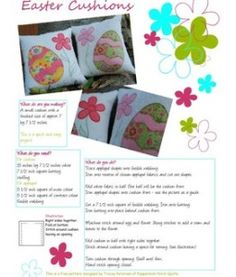 Cute quilted Easter cushions to sew, complete instruction included